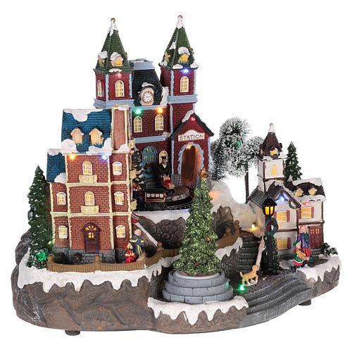 Christmas-themed train station 30x35x25 cm 4