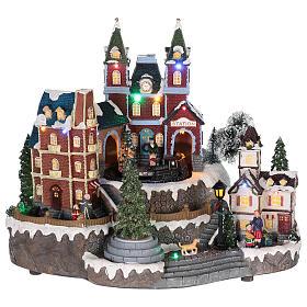 Villages de Noël miniatures: Gare des trains thème Noël 30x35x25 cm