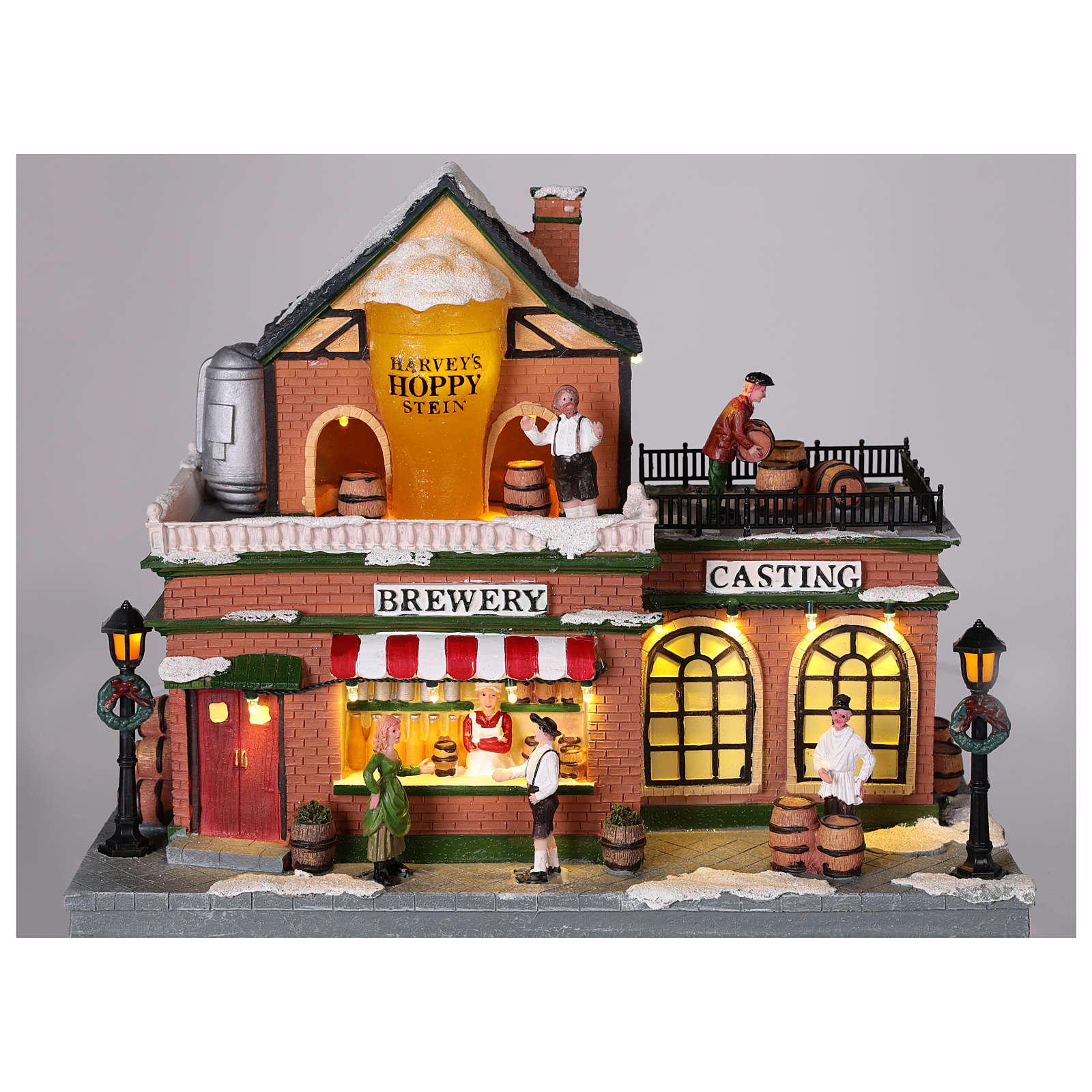 Fábrica de cerveza en tema navideño con luces y movimiento 30x35x30 3
