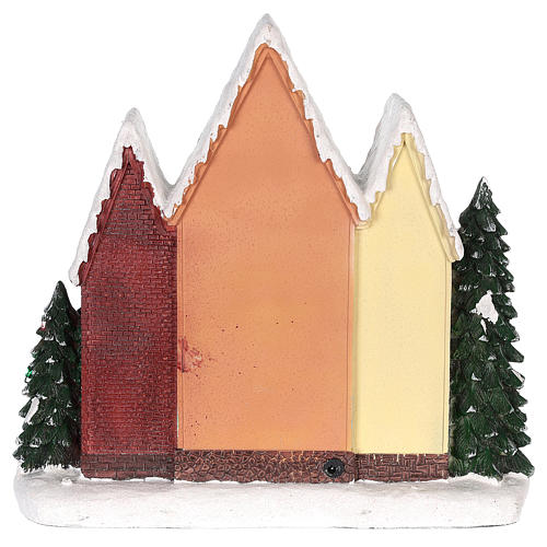 Christmas house in resin with light, music and movement 35x35x15 cm 5