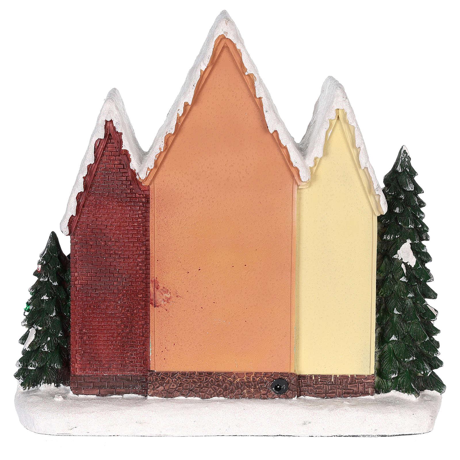 Casa di Natale con movimenti luci e musica 35x35x15 cm 3