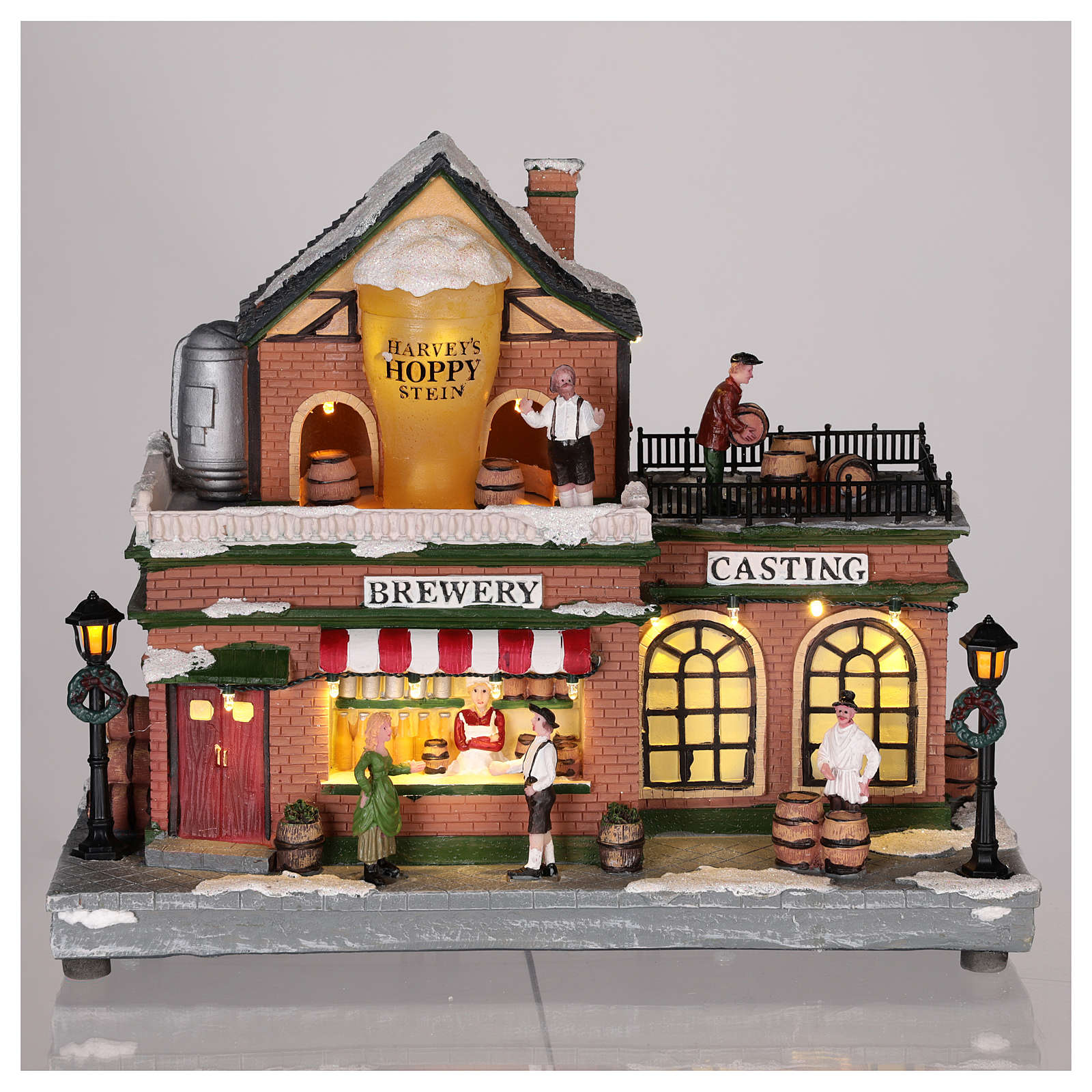 Christmas house with carousel and Santa Claus 45x25x20 cm 3