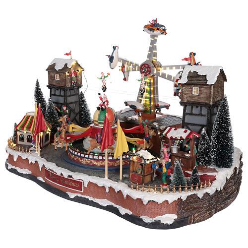 Feria para niños navideño con aeroplanos funámbulos y tiovivo 45x65x45 cm 3