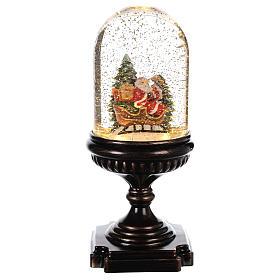 Bola de Cristal Navideña: Bola de Navidad con Papá Noel en trineo 25x12x12 cm
