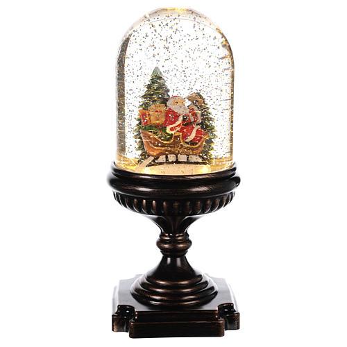 Palla di Natale con Babbo Natale su slitta 25x12x12 cm 1