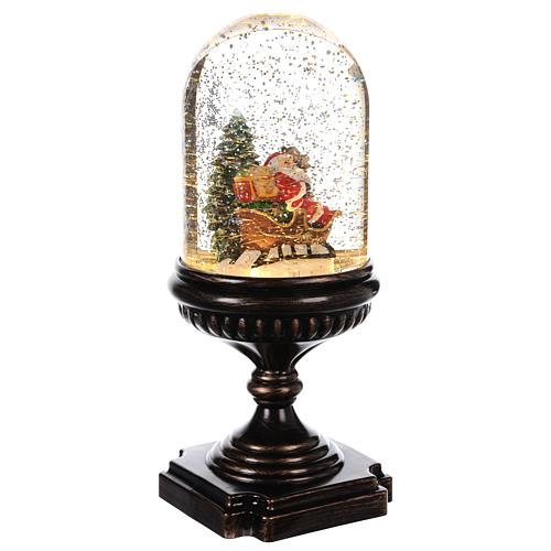 Palla di Natale con Babbo Natale su slitta 25x12x12 cm 3