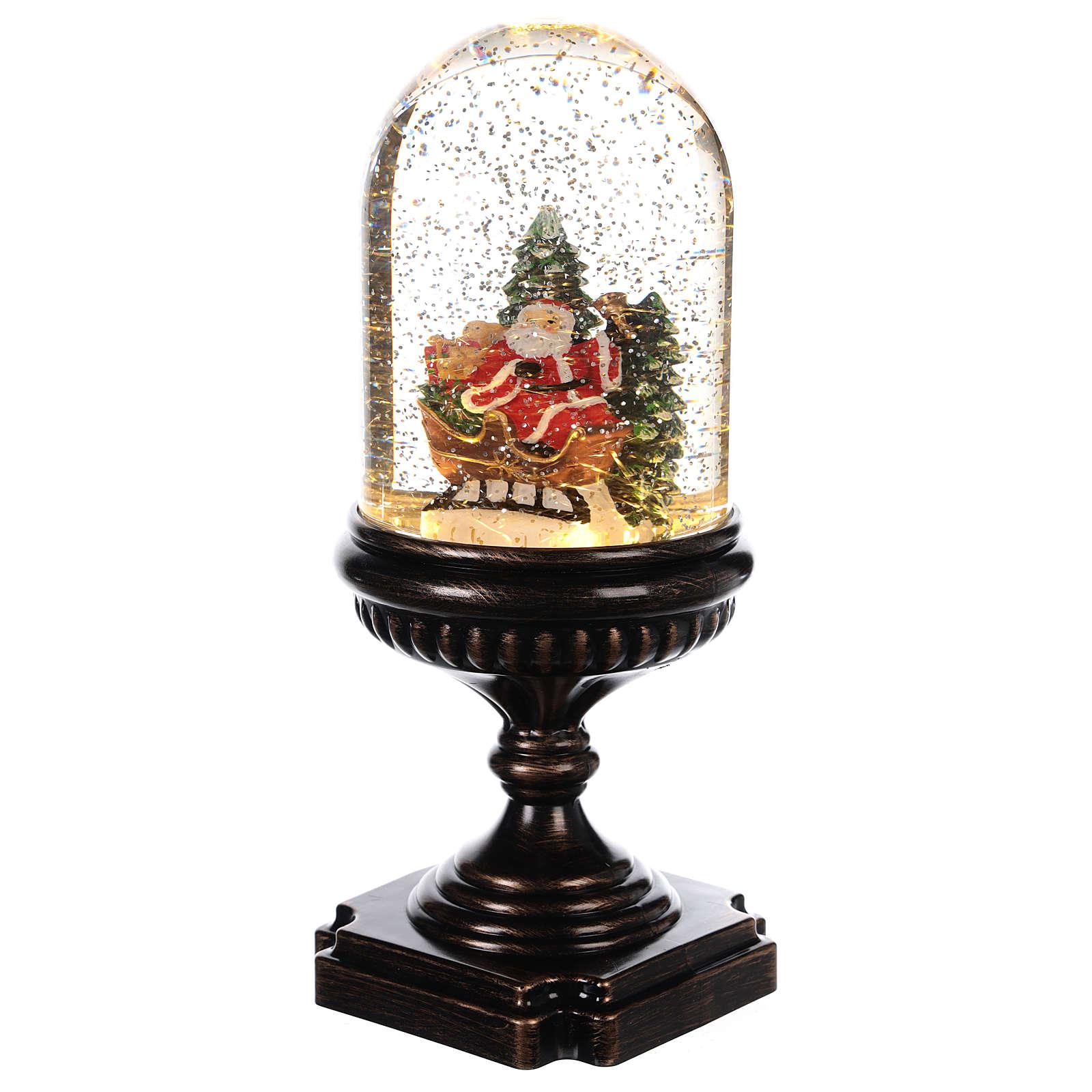 Kula świąteczna ze Świętym Mikołajem na saniach 25x12x12 cm 3