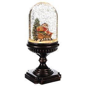Snow globe with Santa on sleigh 25x12x12 cm s3