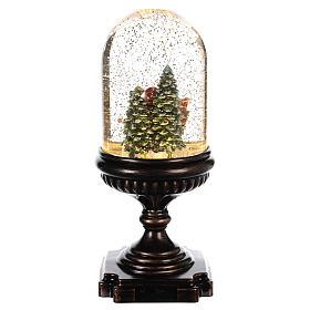 Snow globe with Santa on sleigh 25x12x12 cm s4