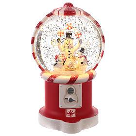 Sfere di vetro di Natale con neve: Palla di Neve a forma di distributore di caramelle 20x10 cm