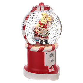 Snowball with sweet dispenser and Santa Claus 20 x 10 cm s3