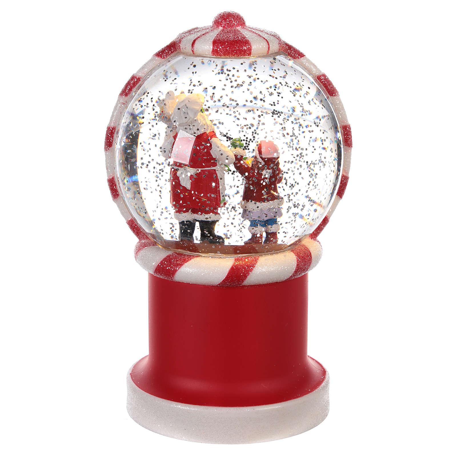 Bola de nieve distribuidor caramelos con Papá Noel 20x10 cm 3