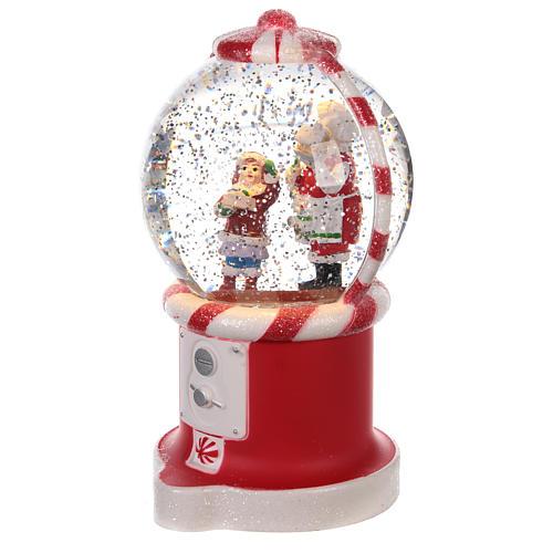 Bola de nieve distribuidor caramelos con Papá Noel 20x10 cm 2