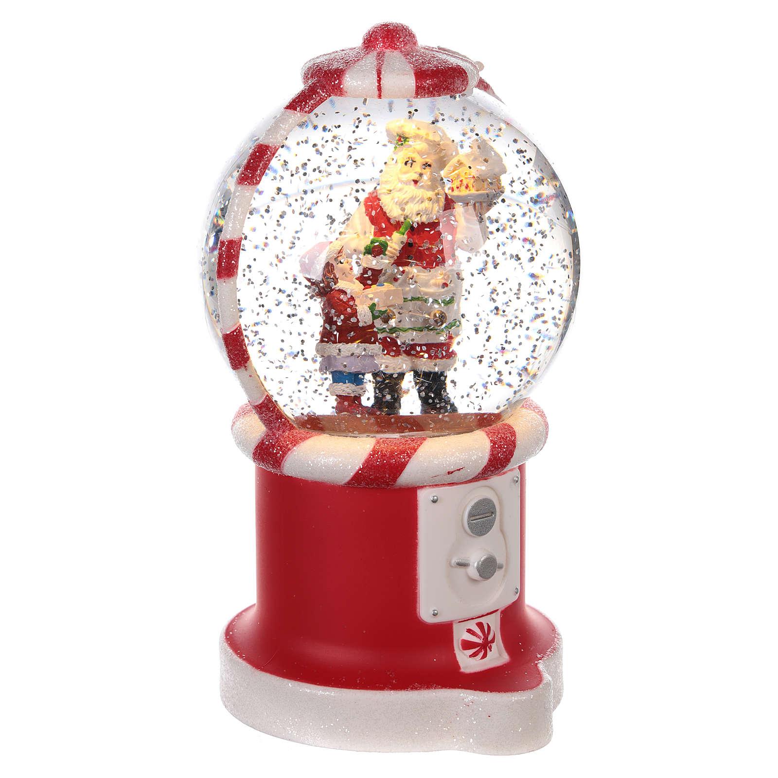 Boule à neige distributeur de bonbons avec Père Noël 20x10 cm 3