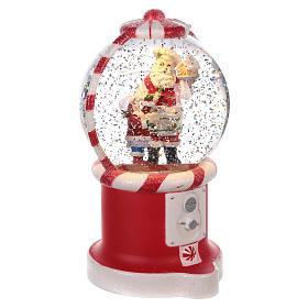 Boule à neige distributeur de bonbons avec Père Noël 20x10 cm s3