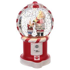 Szklane kule świąteczne ze śniegiem: Kula śnieżna dozownik cukierków ze Świętym Mikołajem 20x10 cm