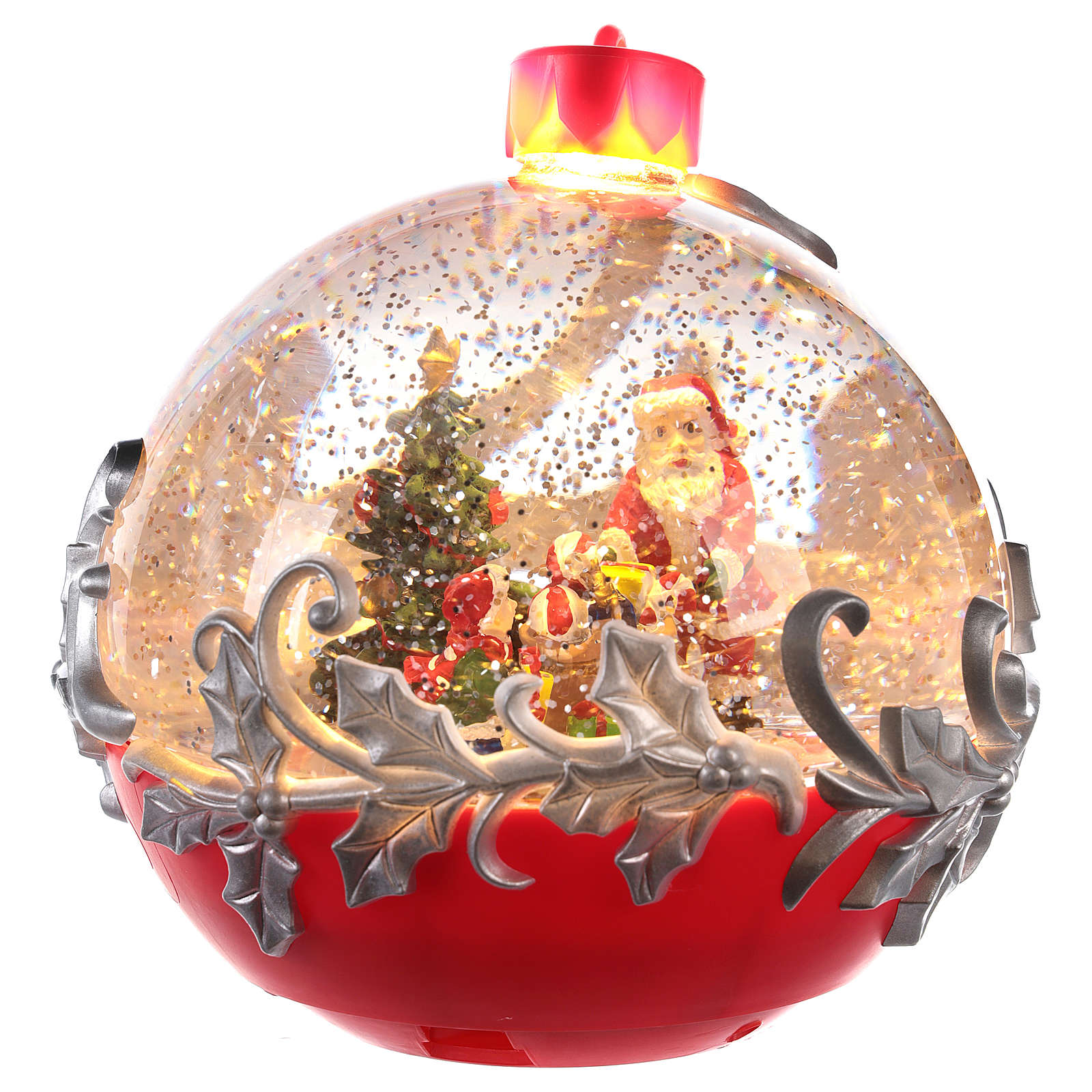 Glass ball with Santa Claus on a sled 15x15 cm 3