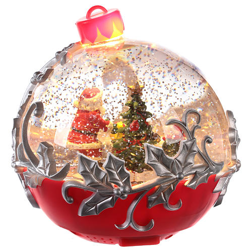 Glass ball with Santa Claus on a sled 15x15 cm 4