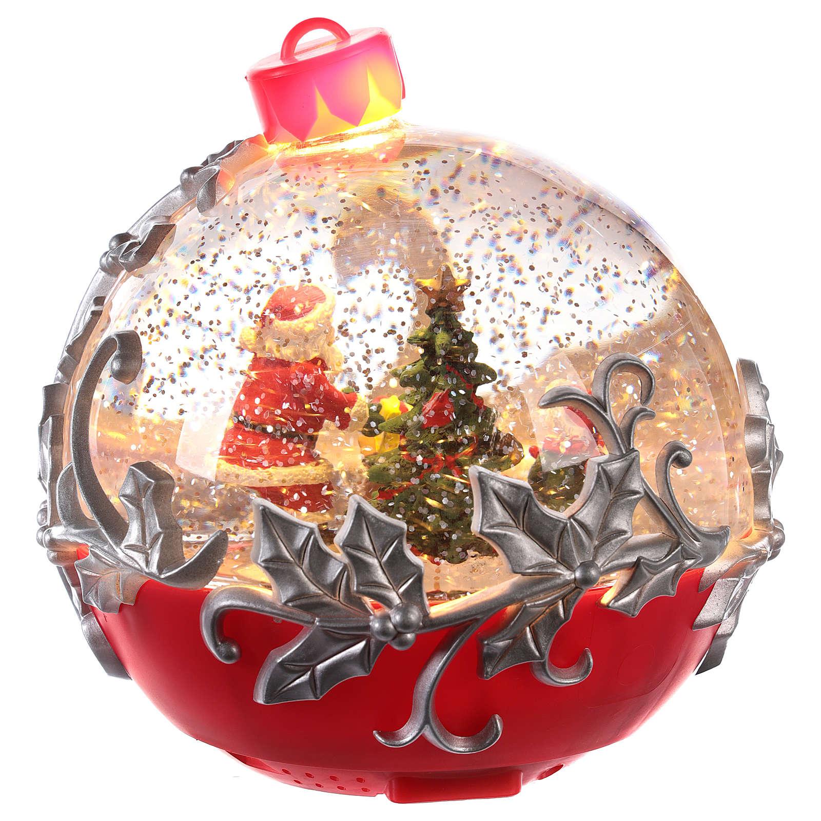 Bola de vidrio con Papá Noel en trineo 15x15 cm 3