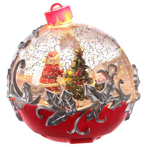 Palla di vetro con Babbo Natale su slitta 15x15 cm 4