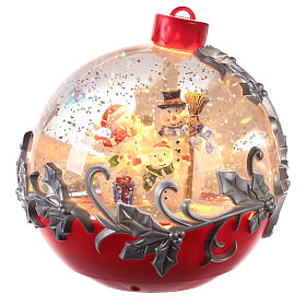 Boule de Noël avec neige: Boule à neige avec bonhomme de neige en traîneau 15x15 cm