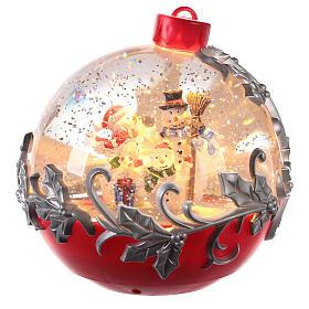 Esferas de Vidro de Natal com neve: Globo de neve com boneco de neve no trenô 15x15 cm