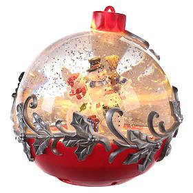 Christmas ball globe with snowman on sleigh 15x15 cm s3