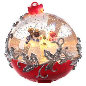 Christmas ball globe with snowman on sleigh 15x15 cm s4