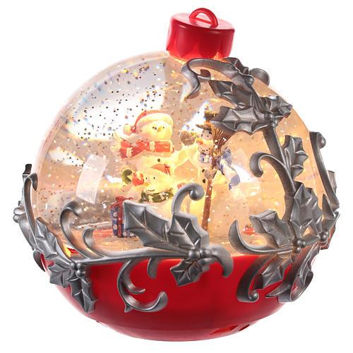 Christmas ball globe with snowman on sleigh 15x15 cm 2