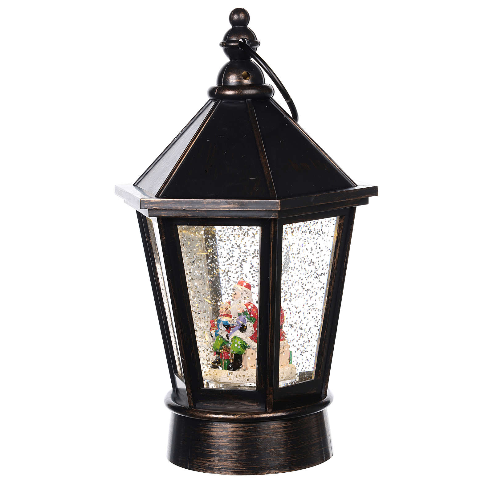 Glass ball in the shape of a lantern with Santa Claus inside 25x10 cm 3