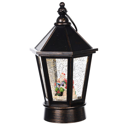 Glass ball in the shape of a lantern with Santa Claus inside 25x10 cm 2