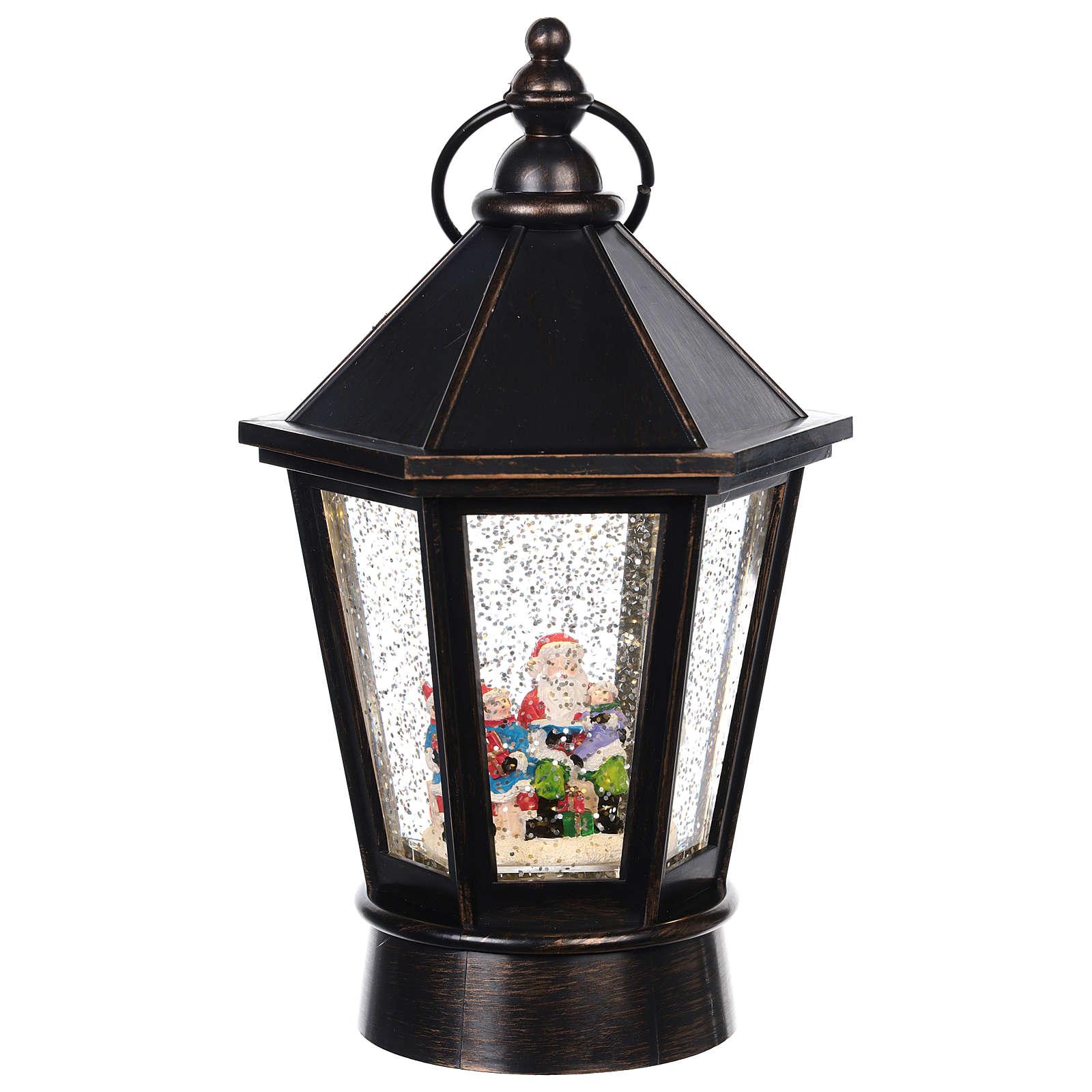 Linterna de vidrio con Papá Noel 25x10 cm 3