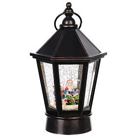 Bola de vidrio linterna con Papá Noel 25x10 cm s1
