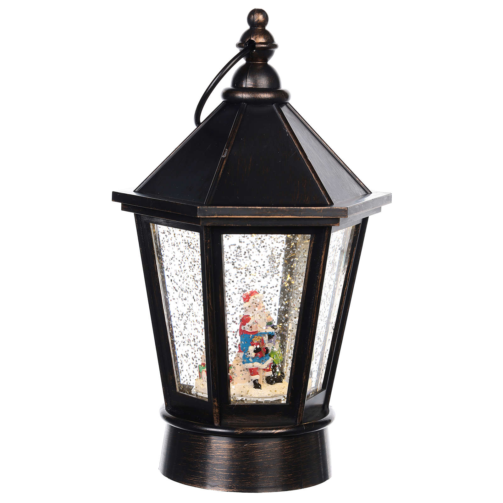 Lanterna di vetro lanterna con Babbo Natale 25x10 cm 3