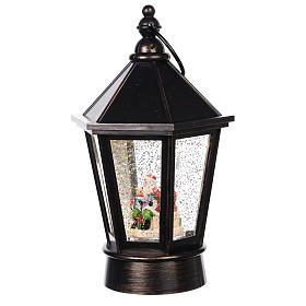Palla di vetro lanterna con Babbo Natale 25x10 cm s2