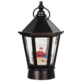 Palla di vetro lanterna con Babbo Natale 25x10 cm s4
