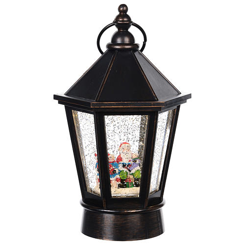 Lanterna di vetro lanterna con Babbo Natale 25x10 cm 1