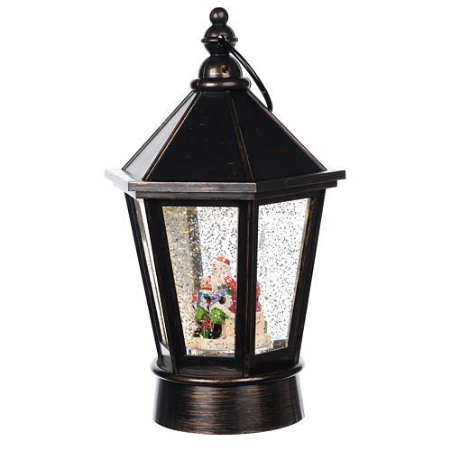 Palla di vetro lanterna con Babbo Natale 25x10 cm 2