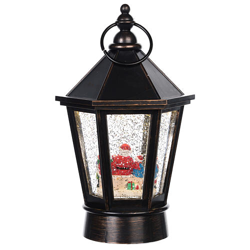 Lanterna di vetro lanterna con Babbo Natale 25x10 cm 4