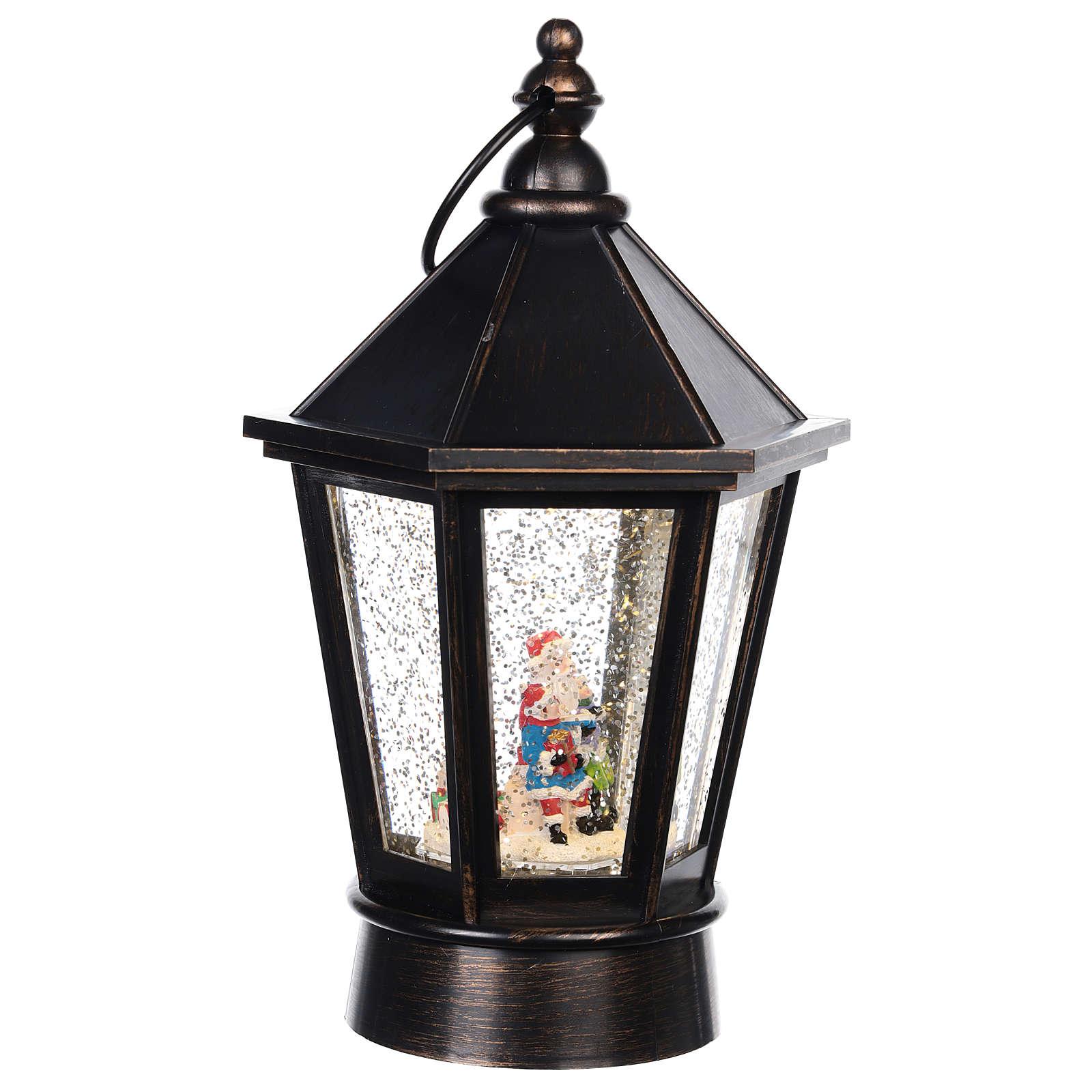 Snow globe lantern with Santa 25x10 cm 3