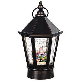 Snow globe lantern with Santa 25x10 cm s1
