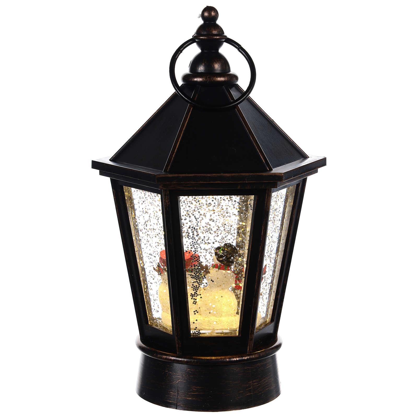 Palla di neve lanterna esagonale pupazzo di neve 25x10 cm 3