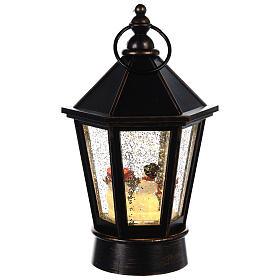 Palla di neve lanterna esagonale pupazzo di neve 25x10 cm s4