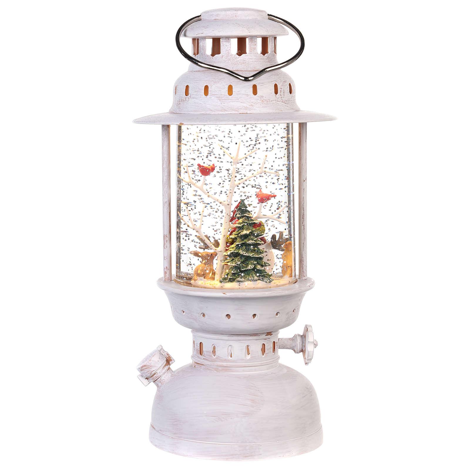 Palla di vetro in lanterna con pupazzo di neve 25x10 cm 3