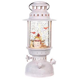 Palla di vetro in lanterna con pupazzo di neve 25x10 cm s1