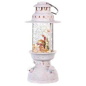 Palla di vetro in lanterna con pupazzo di neve 25x10 cm s2