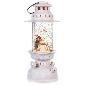 Palla di vetro in lanterna con pupazzo di neve 25x10 cm s3