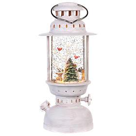Palla di vetro in lanterna con pupazzo di neve 25x10 cm s4