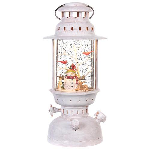 Palla di vetro in lanterna con pupazzo di neve 25x10 cm 1