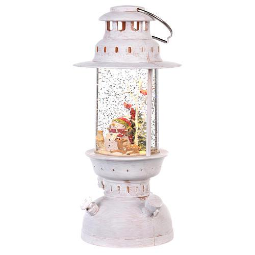 Palla di vetro in lanterna con pupazzo di neve 25x10 cm 2
